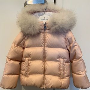 Pink Moncler Coat with white fur for toddler girls